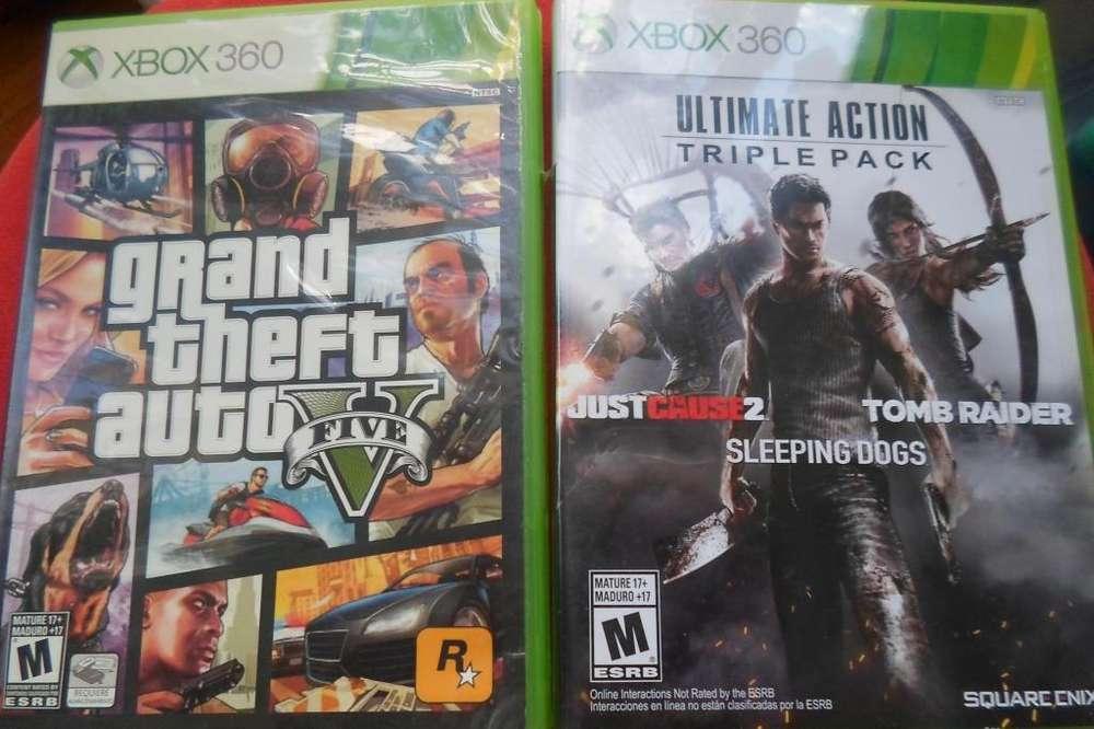2 juegos xbox 360 GTA 5 y 0tro 3 en 1 en su caja original