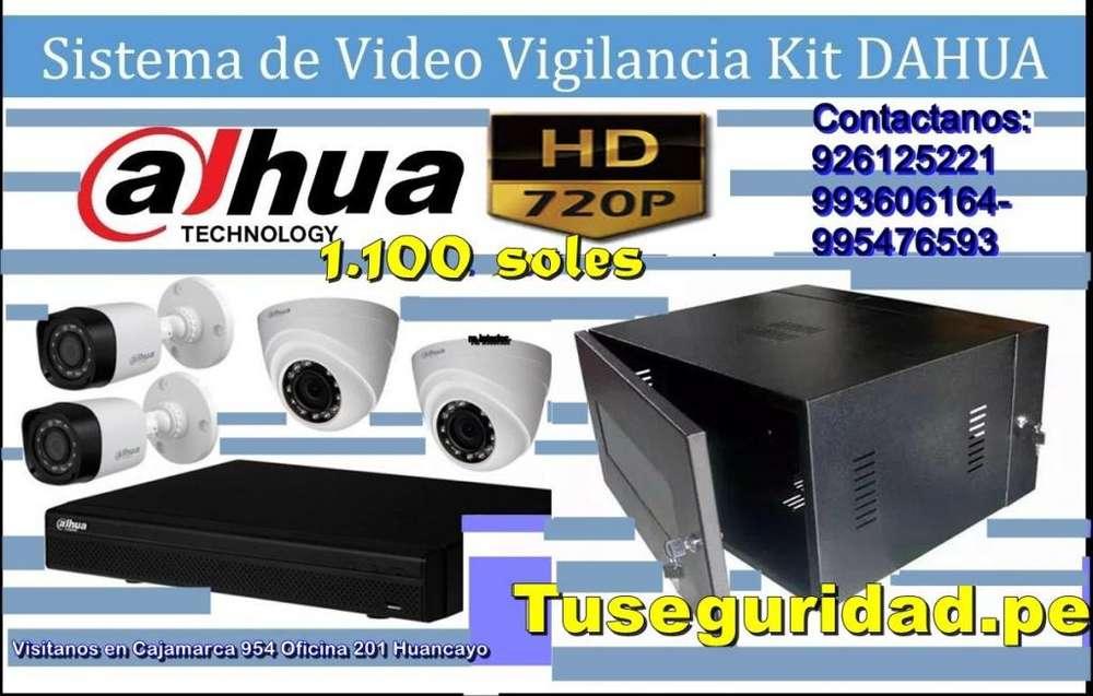 Kit 4 camaras de 720p listas para instalar marca Dahua
