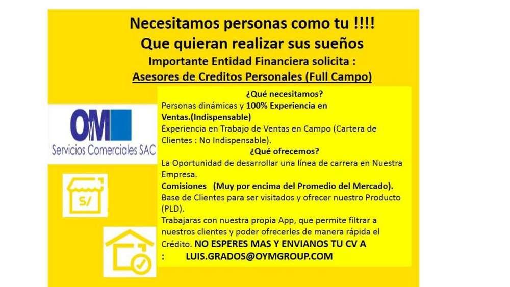 Oportunidad Laboral - Asesores de Campo - Ventas