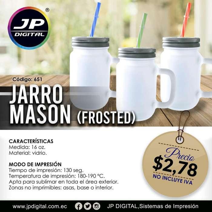 Jarro mason frosted con sorbete para sublimación.