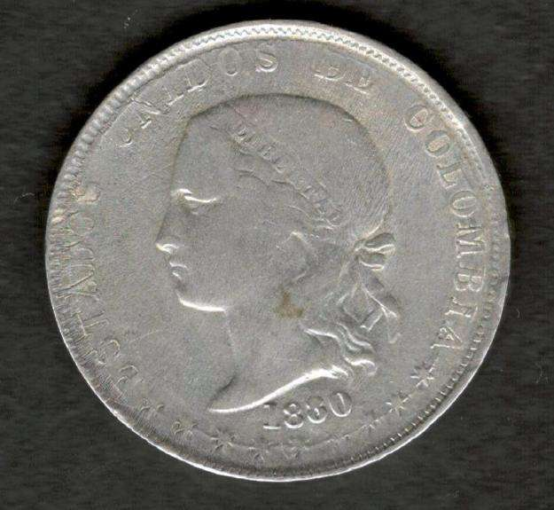 Colombia 1880 Silver 50 centavos Medellin Very Fine VF Plata