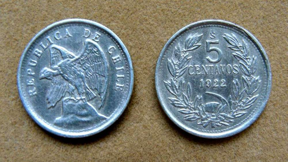 Moneda de 5 centavos Chile año 1922
