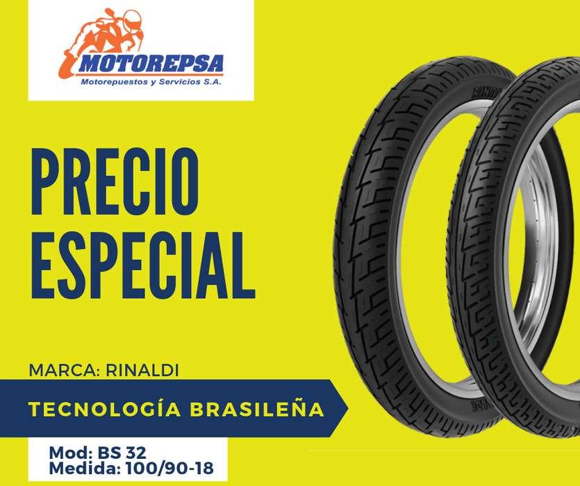 <strong>llanta</strong> Moto RINALDI BS 32 100/90/18 importada BRASIL moto HONDA YAMAHA SIMILARES
