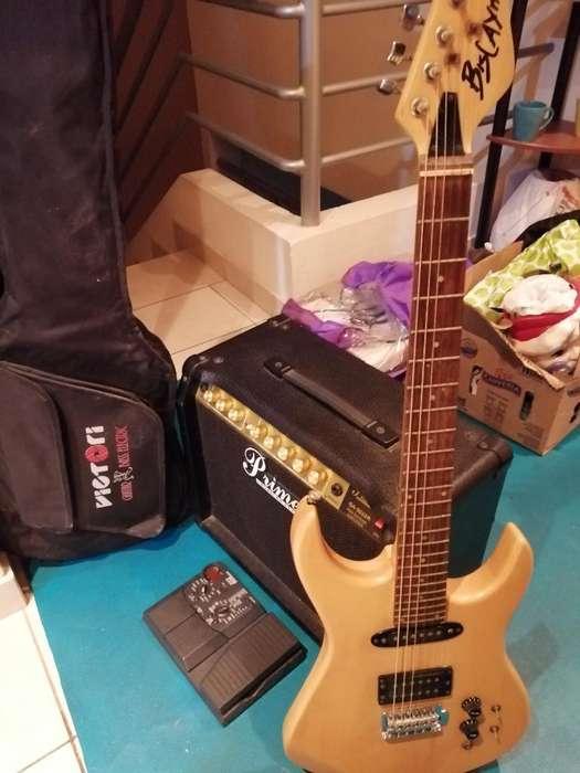 Guitarra con Pedal Multi Efectos Y Amp