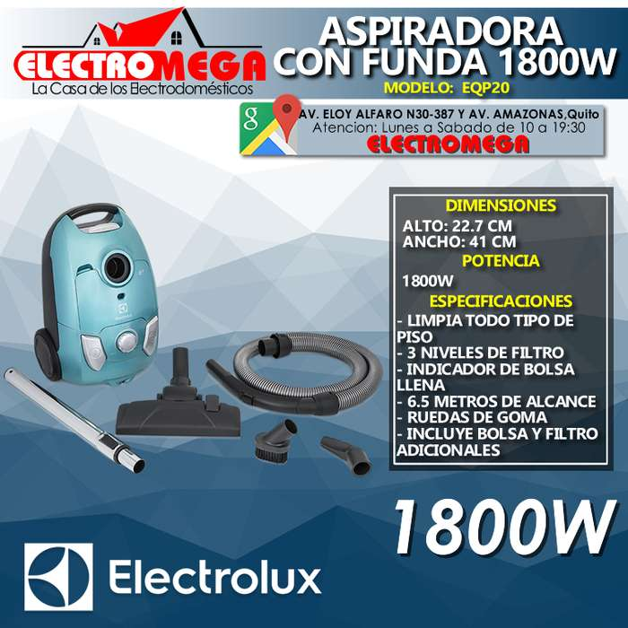 Aspiradora De Polvo Electrolux 1800 W Con Bolsa Eqp20