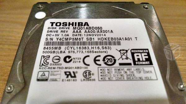 disco duro 500 gb <strong>toshiba</strong> para laptop