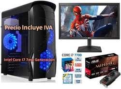 Computador Cpu Gamer Intel Core I7 8va Gen 2tb 16gb RX470 4GB Led 20 PRECIO INCLUYE IVA ENTREGA A DOMICILIO