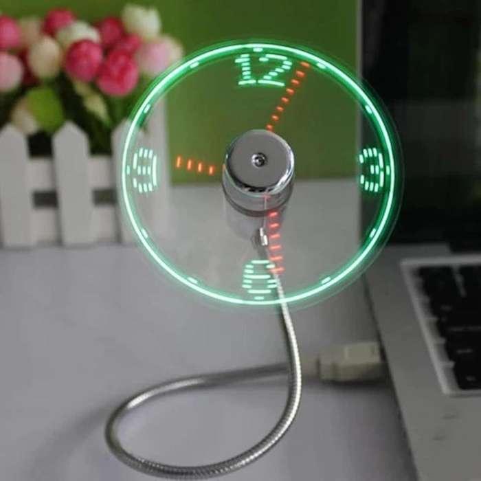 <strong>ventilador</strong> Usb Con Reloj De Luces Led Regalo Gadget