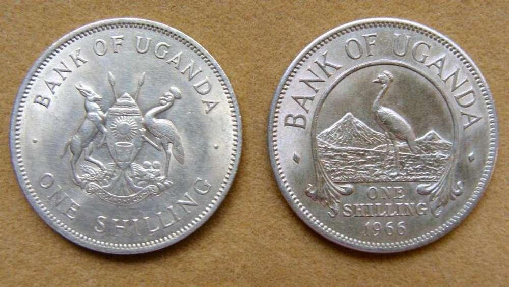 Moneda de 1 chelín Uganda 1966