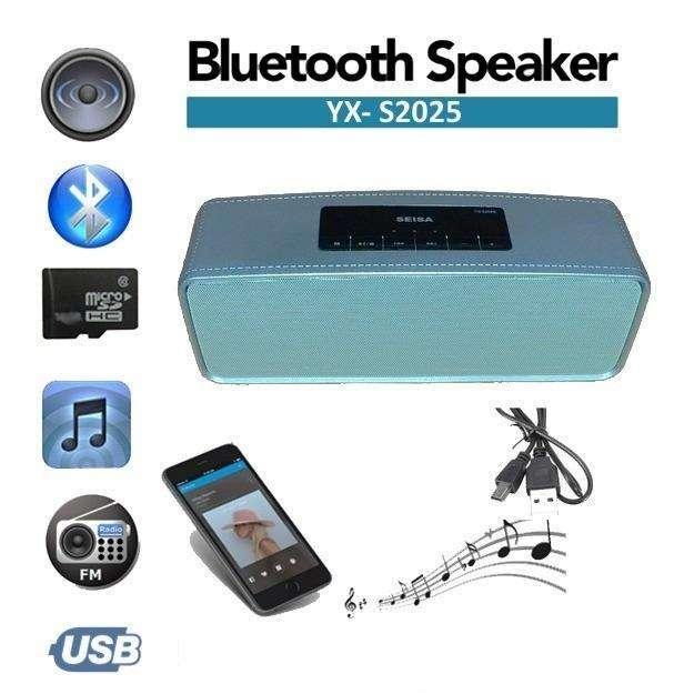 Parlante Portatil Bluetooth Usb Sd Aux Simil Cuero