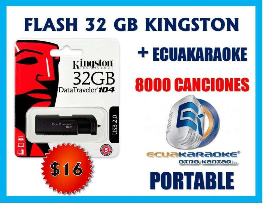 Flash 32gb Kingston con Ecuakaraoke 8000