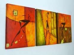Cuadros pintados a mano tripticos minimalistas modernos abstractos decorativos y texturados con diseños africanos