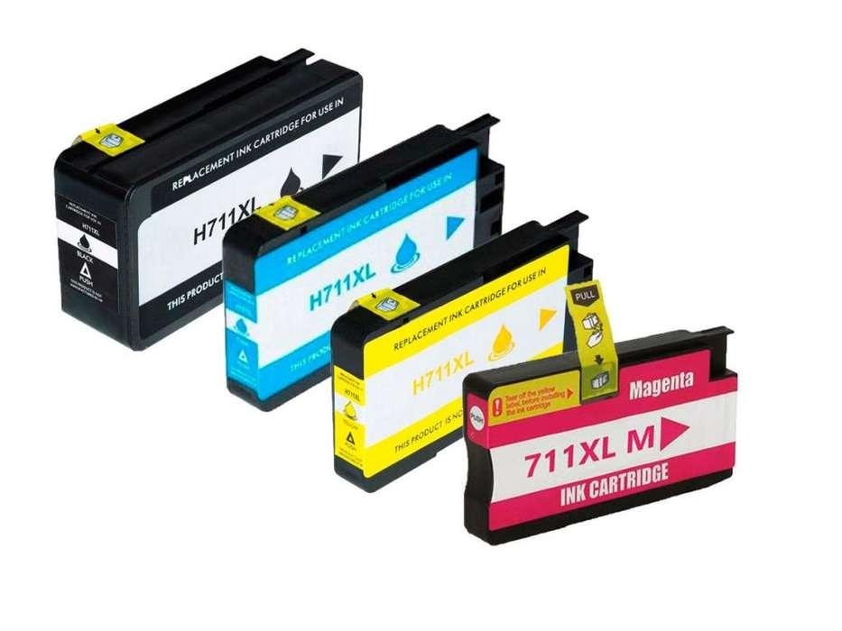 Cartucho HP 711 genérico combo 4 colores promoción para plotter T120/T520