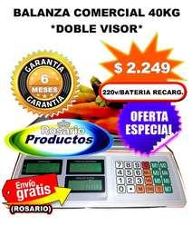 Balanza Digital 40 Kg Sin Torre D/Visor a Batería GARANTÍA 6 MESES