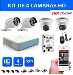 Kit 4 Cámaras Seguridad HikVision HD 720 disco 1tb wd purp completo