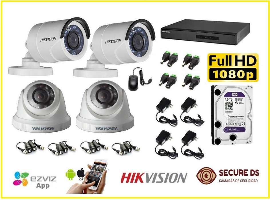 kit de 4 camaras hikvision en FULL HD