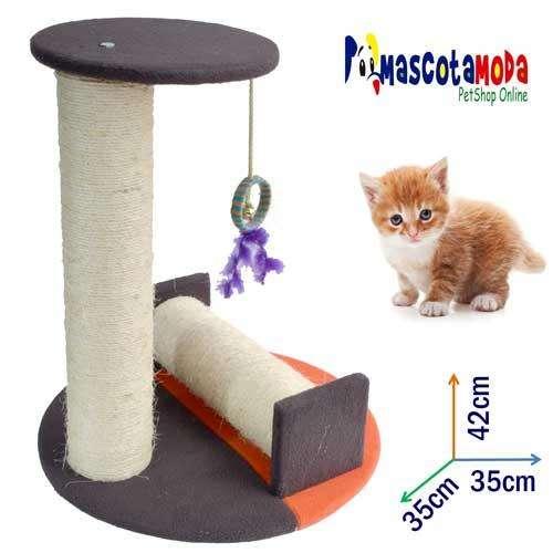 Rascador con rodillo y plataforma para gatos ejercicio completo