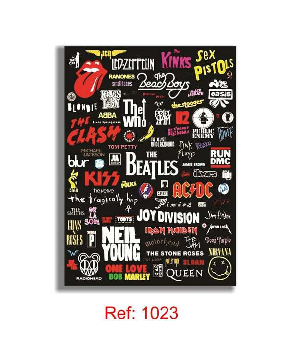 Best Rock Bands Cuadro Laminado 20x28 Cm