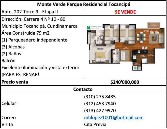Apartamento en Venta, Tocancipá (ESTRENAR)