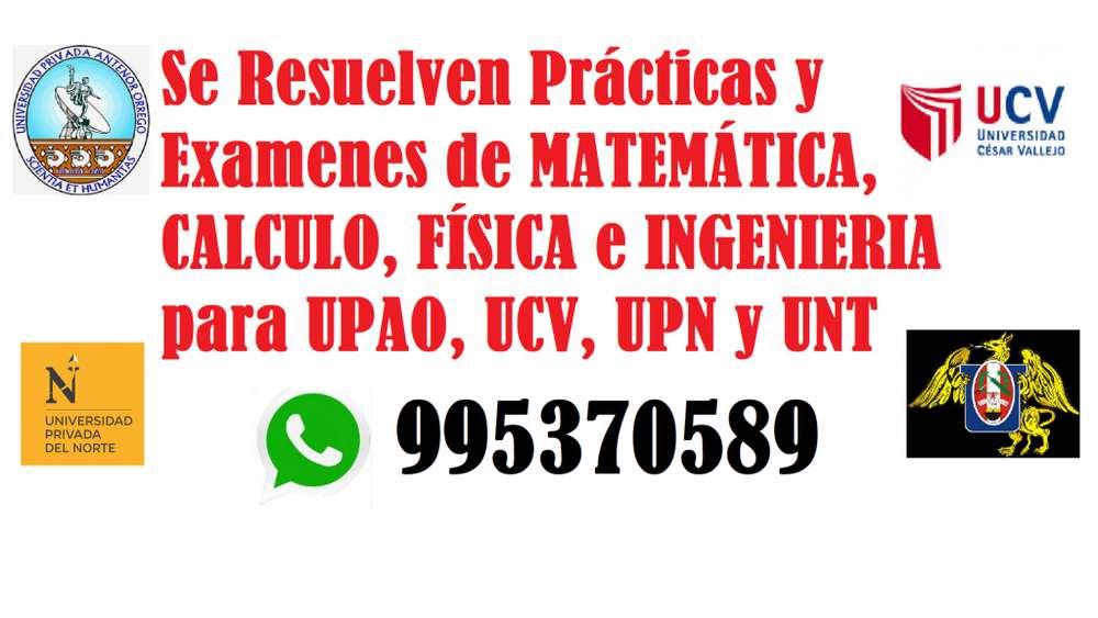 Se resuelven Prácticas y Exámenes de Matemática, Física, Cálculo e Ingeniería