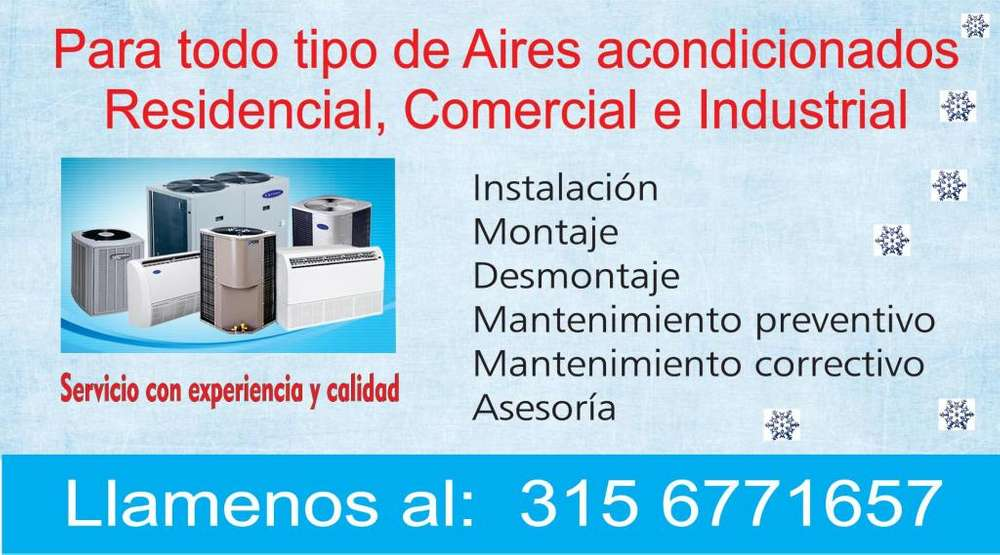 Instalación, desmontaje, mantenimiento y reparación de aire acondicionado 315 6771657