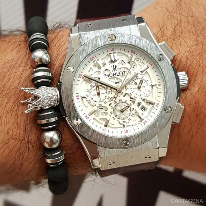 Reloj Hublot cronografos plateado con marron para caballero en venta
