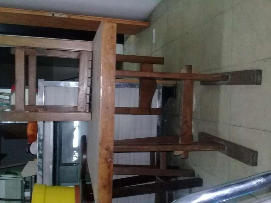 vendo o permuto mesas 7 y sillas 20 de algarrobo para restauran