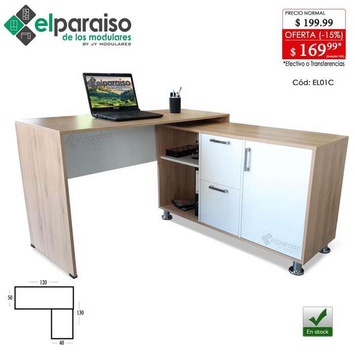 Escritorio mesa en L, modular, cajones y puerta, archivador organizador, 2 colores, minimalista