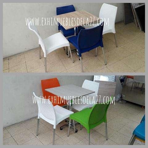 venta de sillas carla, eva, diseño, magica, mesas metalicas en acero y madera para negocio
