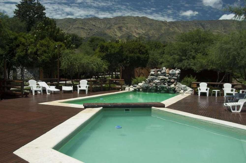 eq91 - Cabaña para 2 a 6 personas con pileta y cochera en Villa De Merlo
