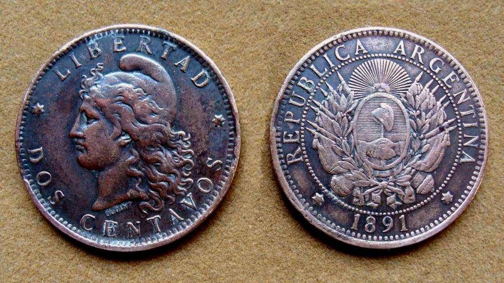 Moneda de 2 centavos Argentina 1891
