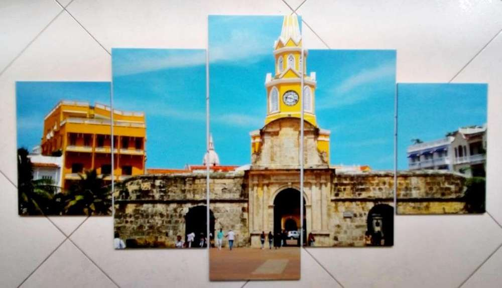 Cuadro ciudad Cartagena de 5 partes para entrega inmediata