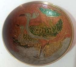 Antiguo Plato De Bronce Pintado a mano