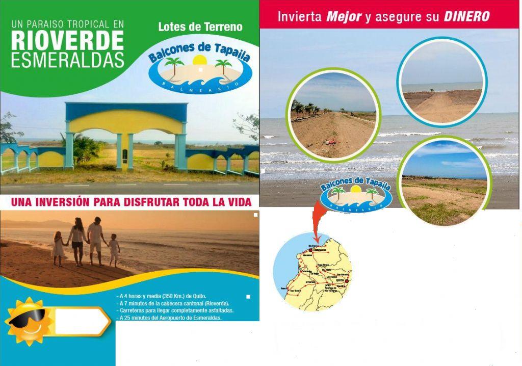 VENDO HERMOSO TERRENO EN LA PLAYA, RIO VERDE - ESMERALDAS - A 2 CUADRAS DE LA PLAYA