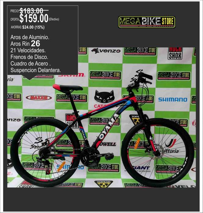 Bicicleta para montaña y ruta todoterreno , rin 26 discos de freno, distribuidora bicicletas aro 26