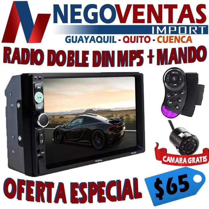 RADIO PARA CARRO DOBLE DIN MP5 USB SD AUX BT FM PANTALLA 7 P CON MANDO AL VOLANTE Y GRATIS LA CAMARA DE RETRO