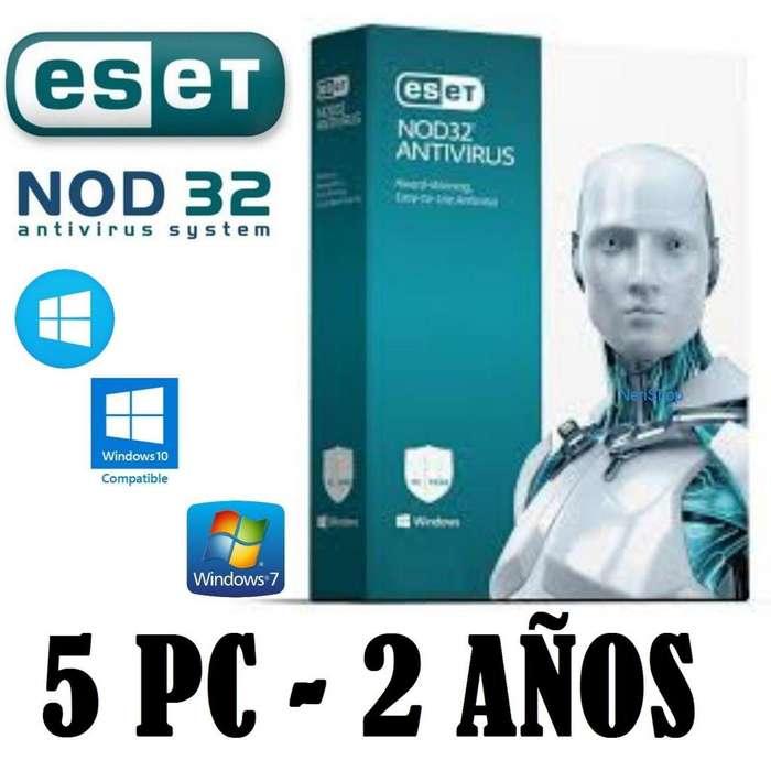 Eset Nod32 Antivirus 2019 version 12 Licencia Original 2 años x 5 equipo