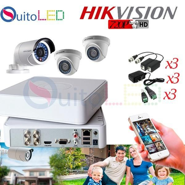 KIT HIKVISION DE 3 CAMARAS DE SEGURIDAD INCLUYE DVR QUITOLED