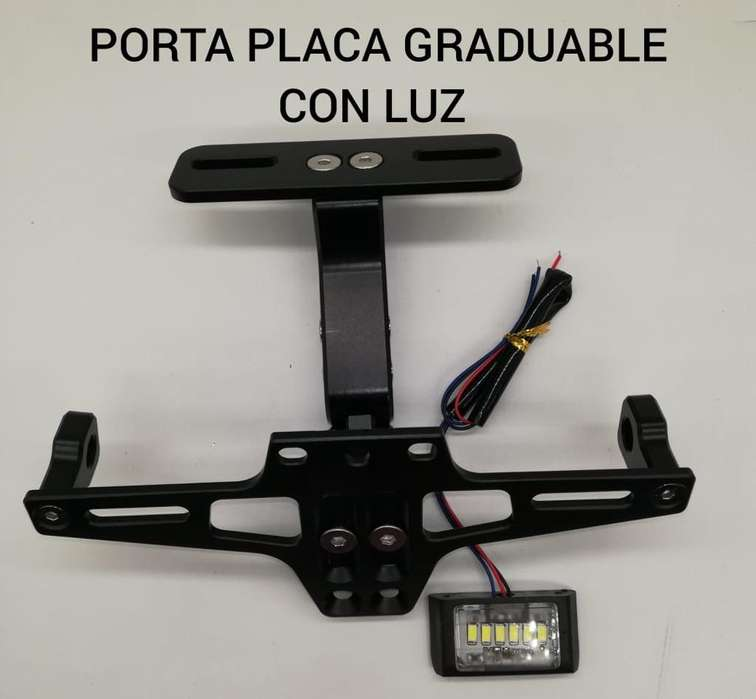 Porta Placa Moto, con Luz.
