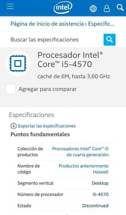 Procesador Intel Core I54570 de Cuarta
