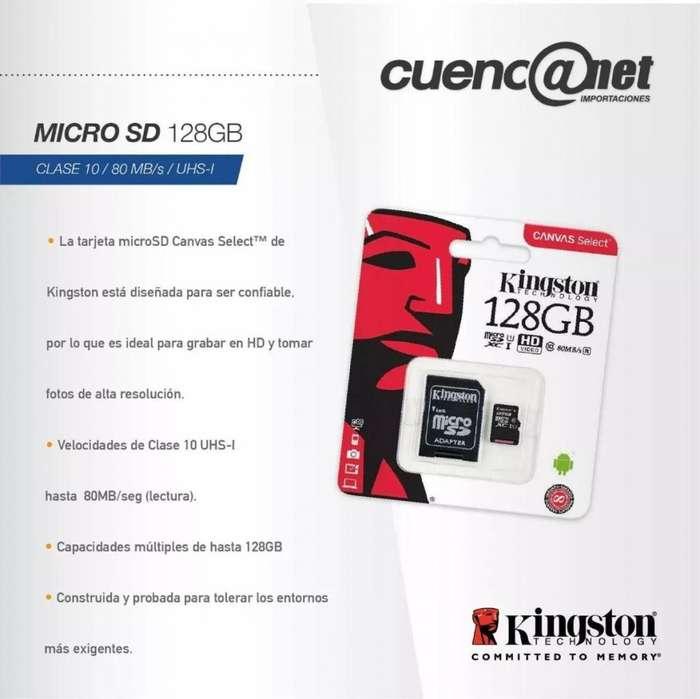 Micro Sd 128gb Kingston Clase 10b con adp