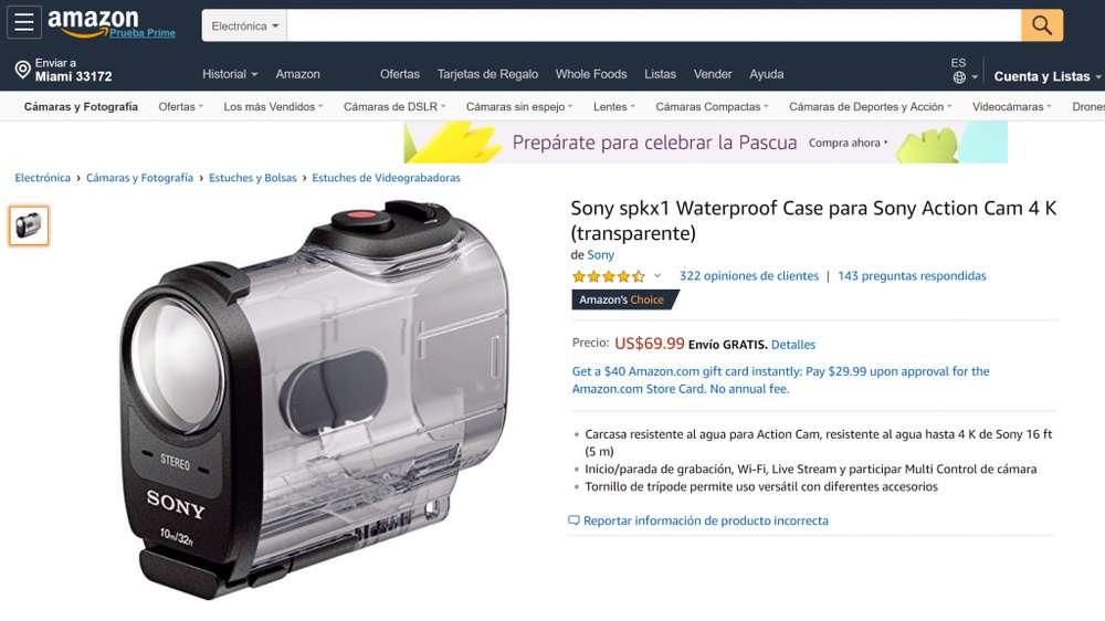 Case / Funda Waterproof Para Cámara de Acción / Sony Action Cam FDRX1000 4K NUEVO