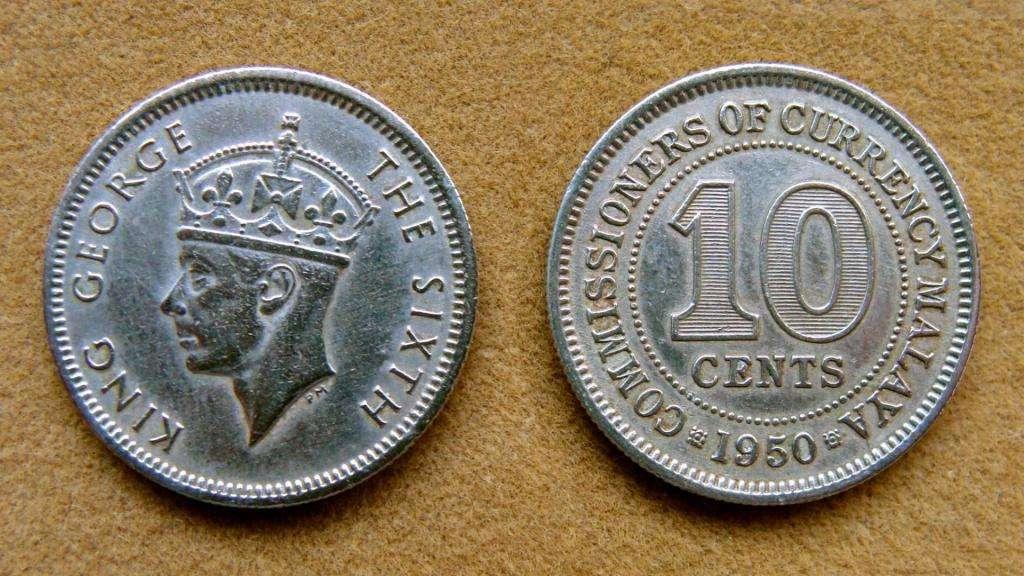 Moneda de 10 cents Malaya Británica 1950