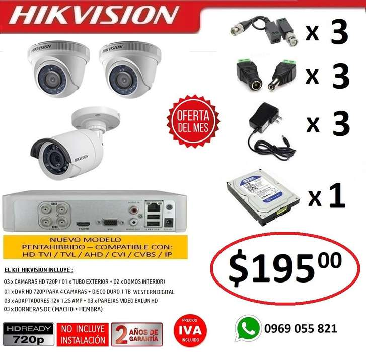 Combo 3 Camaras Seguridad Vigilancia Hd 720p Original Hikvision DVR 4 Camaras HD 720P