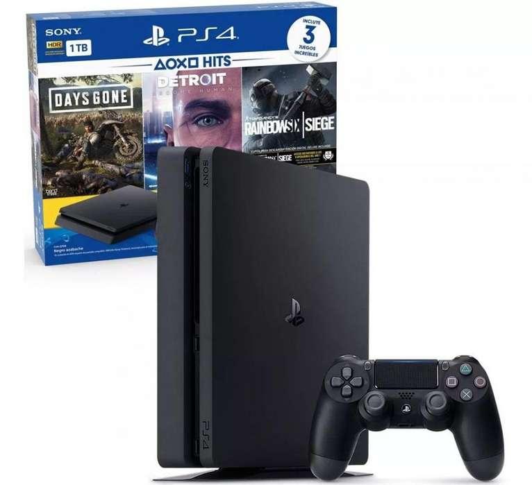 Consola Ps4 Playstation 4 1tb 1 Joystick 3 Juegos