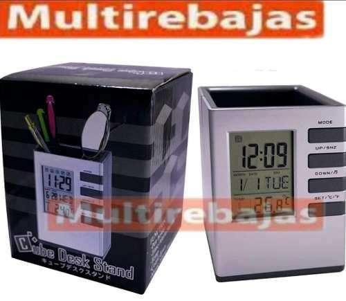 Porta Esferos Bolígrafos Con Reloj Digital