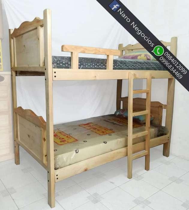 literas de plaza y media de madera de pino ademas camas, colchones base somier al por mayor y menor