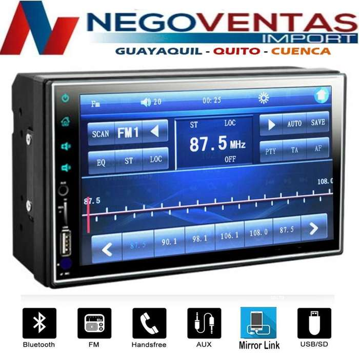 RADIO PARA CARRO DOBLE DIN MP5 FULL TOUCH TACTIL DVD USB SD FM AUX CON MIRROW LINK OPCION CAMARA DE RETRO