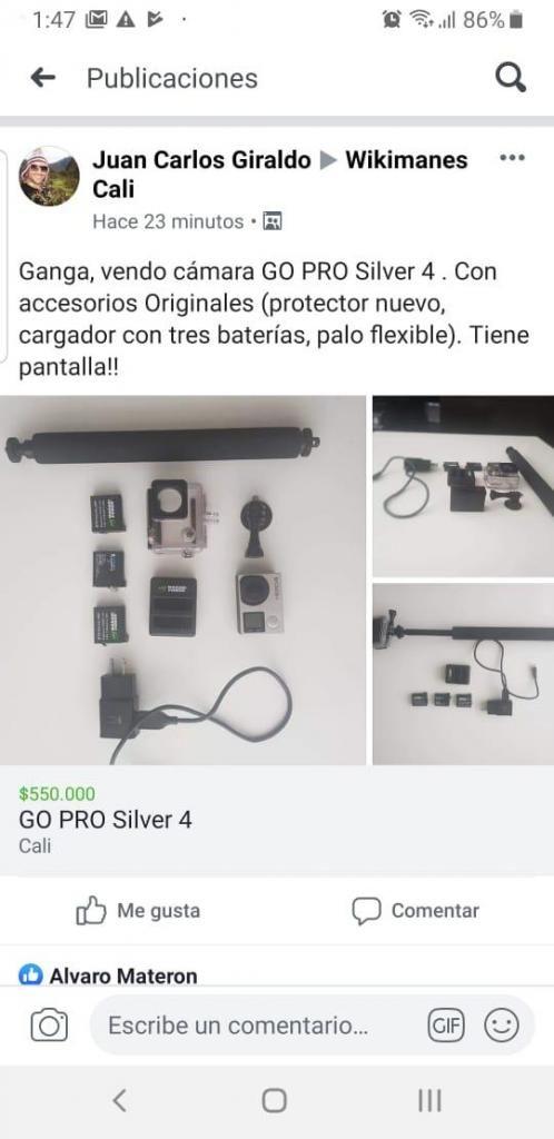 Gangazo venta camara GOPRO con accesorios adicionales