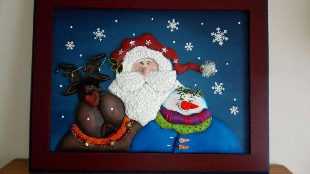 Cuadro navideño técnica imitación cuero en relieve